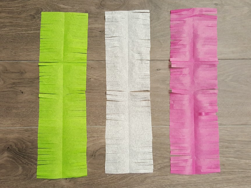 Cut all the tissue paper colours that you'll be using for your garland