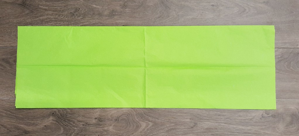 "Using a full 20"" x 30"" sheet of tissue paper, fold in half so you have 2 layers"