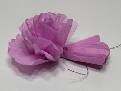 Tissue paper flowers forming the flower